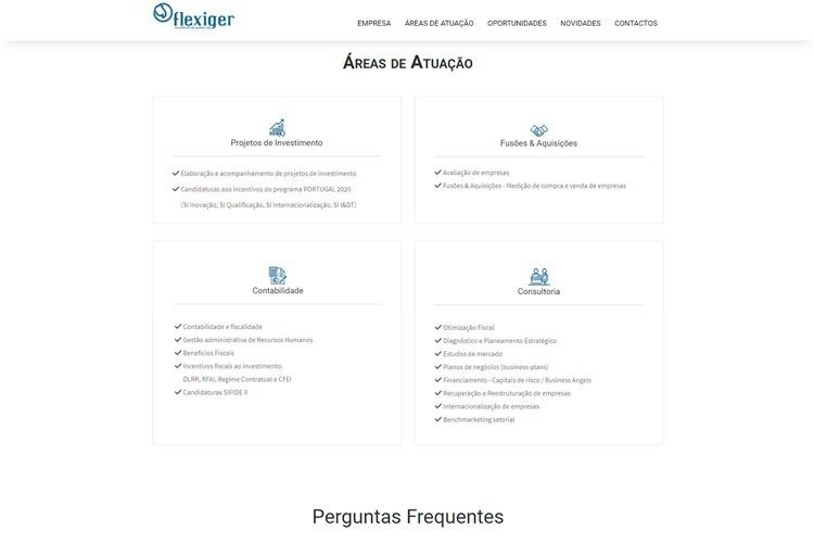 Apresentação de website flexiger