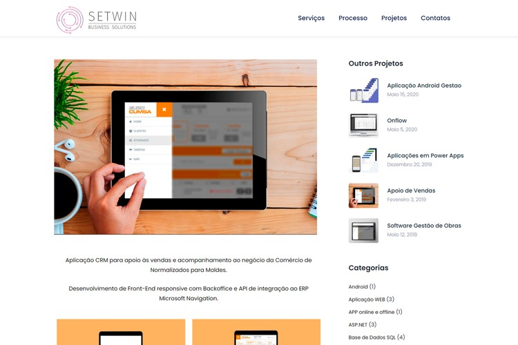 Apresentação de website setwin