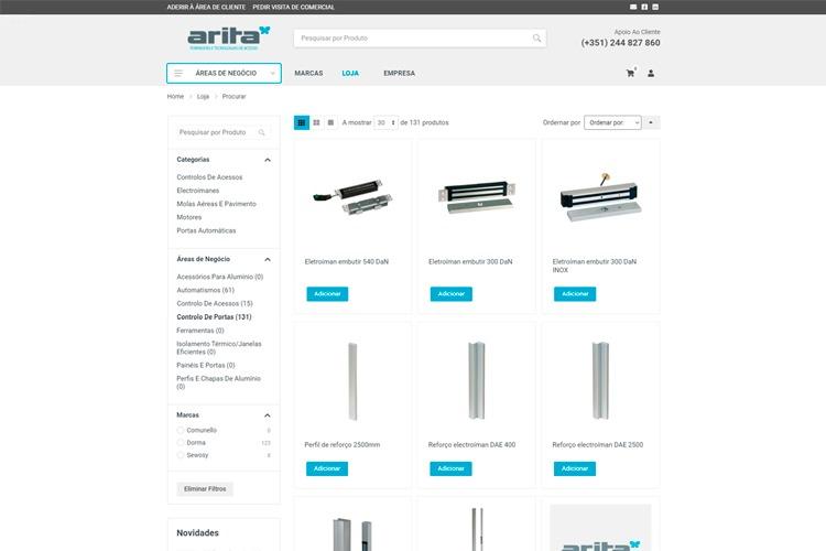 Print de uma das páginas do e-commerce da arita