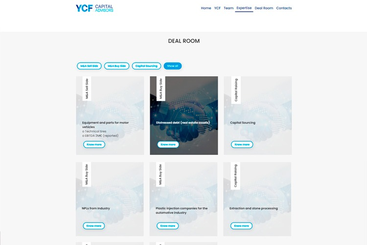 Apresentação de website YCF